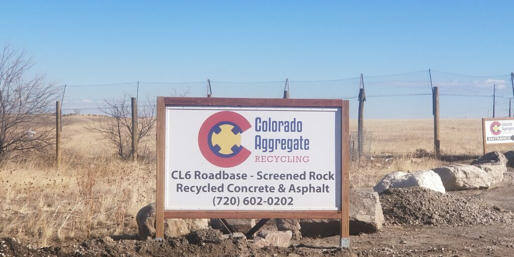 Colorado Aggregate Recycling Road Sign