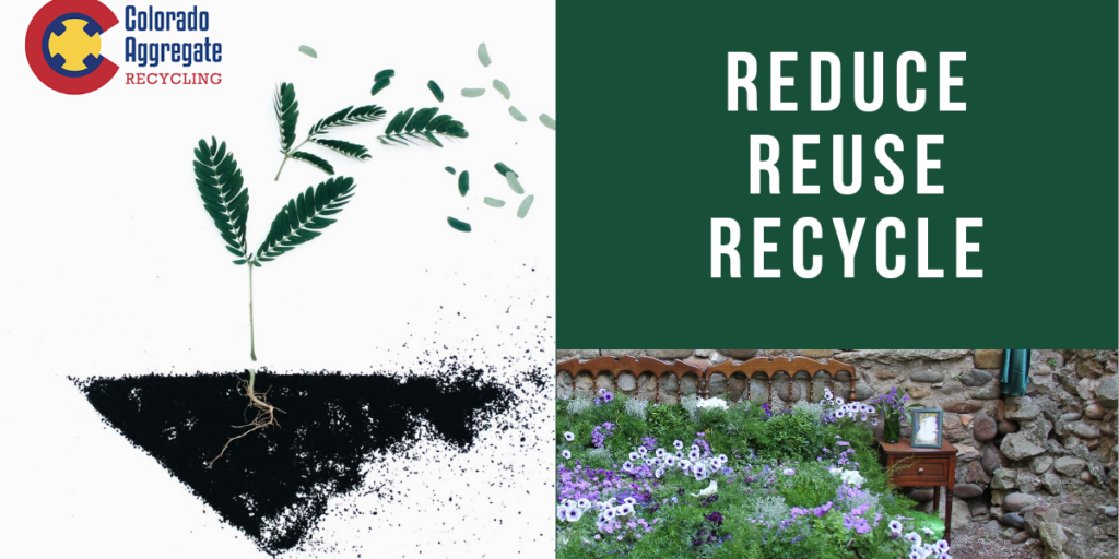 Custom image for Colorado Aggregate Recycling blog post on applications for recycled concrete in gardening and landscaping.